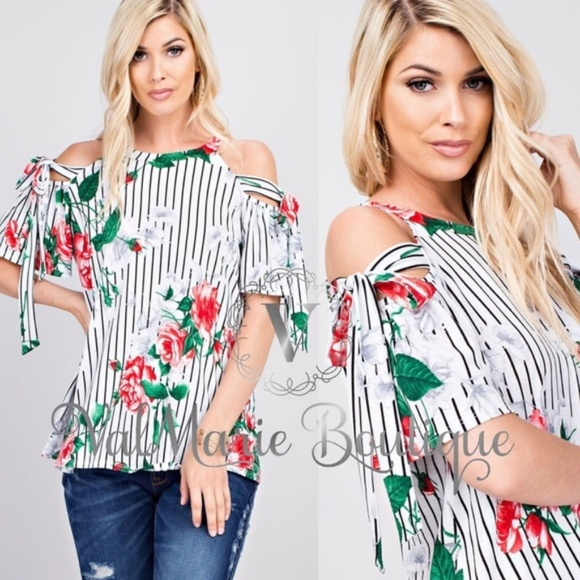 49e05a1589a25 Floral and striped cold shoulder top